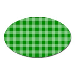 Gingham Background Fabric Texture Oval Magnet by Jojostore