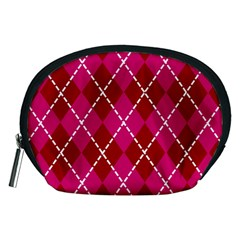 Texture Background Argyle Pink Red Accessory Pouches (medium)  by Jojostore
