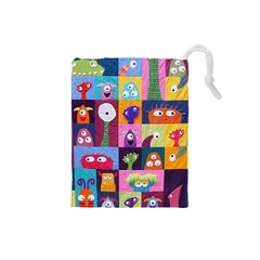 Monster Quilt Drawstring Pouches (small)  by Jojostore