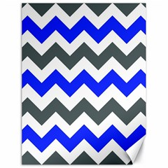 Grey And Blue Chevron Canvas 18  X 24   by Jojostore