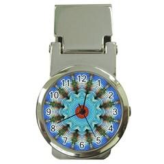 Pattern Blue Brown Background Money Clip Watches