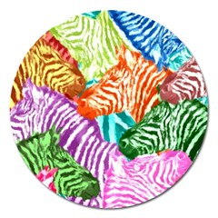 Zebra Colorful Abstract Collage Magnet 5  (round)