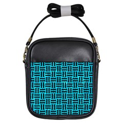 Woven1 Black Marble & Turquoise Marble (r) Girls Sling Bag by trendistuff
