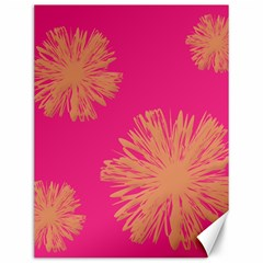 Yellow Flowers On Pink Background Pink Canvas 12  X 16   by Jojostore
