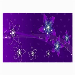Flowers Purple Large Glasses Cloth (2 Side) by Jojostore