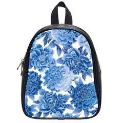 Blue Toned Flowers School Bags (small)  by Brittlevirginclothing