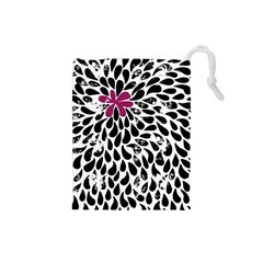 Flower Simple Pink Drawstring Pouches (small)  by Jojostore