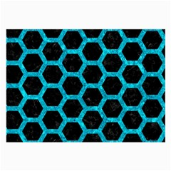 Hexagon2 Black Marble & Turquoise Marble Large Glasses Cloth (2 Sides) by trendistuff