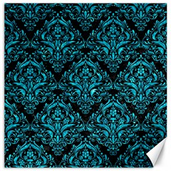 Damask1 Black Marble & Turquoise Marble Canvas 16  X 16  by trendistuff