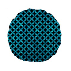Circles3 Black Marble & Turquoise Marble Standard 15  Premium Flano Round Cushion  by trendistuff