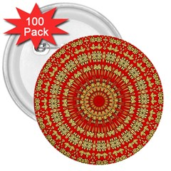 Gold And Red Mandala 3  Buttons (100 Pack)  by Amaryn4rt
