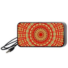 Gold And Red Mandala Portable Speaker (black)