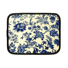 Vintage Blue Drawings On Fabric Netbook Case (small)  by Amaryn4rt