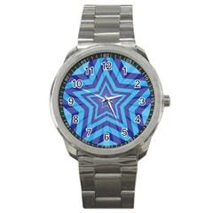 Abstract Starburst Blue Star Sport Metal Watch