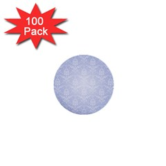 Damask Pattern Wallpaper Blue 1  Mini Buttons (100 Pack)  by Amaryn4rt
