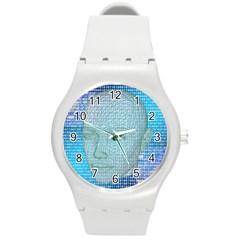 Digital Pattern Round Plastic Sport Watch (m)