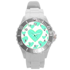 Green Heart Pattern Round Plastic Sport Watch (l)