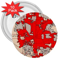 Map Of Franklin County Ohio Highlighting Columbus 3  Buttons (10 Pack)  by Amaryn4rt