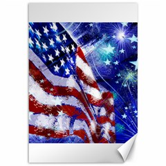American Flag Red White Blue Fireworks Stars Independence Day Canvas 12  X 18   by Onesevenart