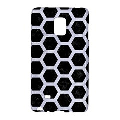 Hexagon2 Black Marble & White Marble Samsung Galaxy Note Edge Hardshell Case by trendistuff