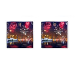 Christmas Night In Dubai Holidays City Skyscrapers At Night The Sky Fireworks Uae Cufflinks (Square) by Onesevenart