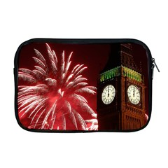 Fireworks Explode Behind The Houses Of Parliament And Big Ben On The River Thames During New Year's Apple Macbook Pro 17  Zipper Case by Onesevenart