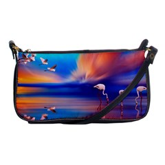 Flamingo Lake Birds In Flight Sunset Orange Sky Red Clouds Reflection In Lake Water Art Shoulder Clutch Bags by Onesevenart