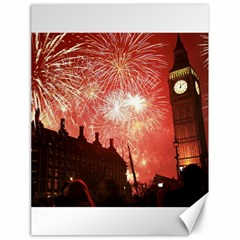 London Celebration New Years Eve Big Ben Clock Fireworks Canvas 18  X 24   by Onesevenart