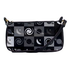 Space Month Saturnus Planet Star Hole Black White Grey Shoulder Clutch Bags by AnjaniArt