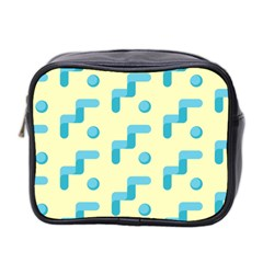 Squiggly Dot Pattern Blue Yellow Circle Mini Toiletries Bag 2 Side by AnjaniArt