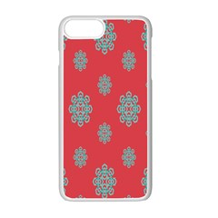 Geometric Snowflake Retro Red Apple Iphone 7 Plus White Seamless Case by AnjaniArt