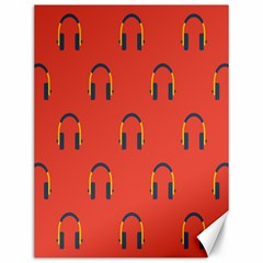 Headphones Red Canvas 12  X 16   by AnjaniArt