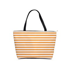 Horizontal Stripes Orange Shoulder Handbags by AnjaniArt