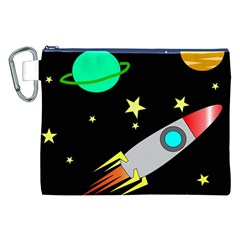 Planet Saturn Rocket Star Canvas Cosmetic Bag (xxl) by AnjaniArt