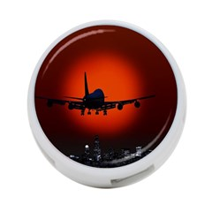 Red Sun Jet Flying Over The City Art 4-Port USB Hub (Two Sides)  by Onesevenart