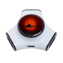 Red Sun Jet Flying Over The City Art 3 Port Usb Hub by Onesevenart