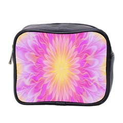 Round Bright Pink Flower Floral Mini Toiletries Bag 2 Side by AnjaniArt