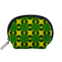 Background Colour Circle Yellow Green Accessory Pouches (small)  by AnjaniArt