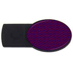 Chain Blue Red Woven Fabric Usb Flash Drive Oval (4 Gb) by AnjaniArt