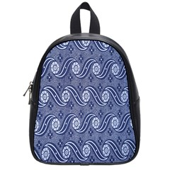 Flower Chevron Wave Blue School Bags (small)  by AnjaniArt
