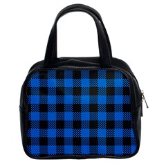 Black Blue Check Woven Fabric Classic Handbags (2 Sides) by AnjaniArt