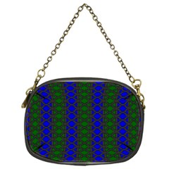 Diamond Alt Blue Green Woven Fabric Chain Purses (one Side)  by AnjaniArt