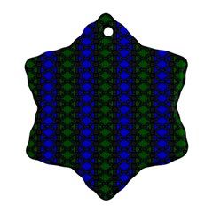 Diamond Alt Blue Green Woven Fabric Ornament (snowflake) by AnjaniArt