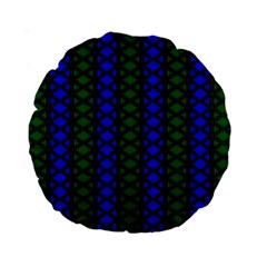 Diamond Alt Blue Green Woven Fabric Standard 15  Premium Round Cushions by AnjaniArt