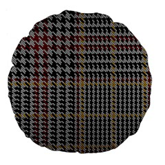 Glen Woven Fabric Large 18  Premium Flano Round Cushions by AnjaniArt
