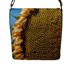 Sunflower Bright Close Up Color Disk Florets Flap Messenger Bag (l)  by Amaryn4rt