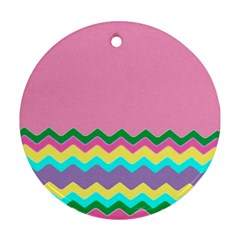 Easter Chevron Pattern Stripes Round Ornament (two Sides) by Nexatart
