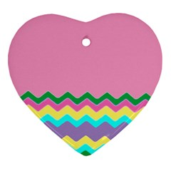 Easter Chevron Pattern Stripes Heart Ornament (two Sides) by Nexatart