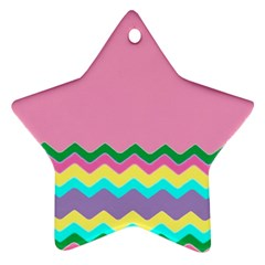 Easter Chevron Pattern Stripes Star Ornament (two Sides) by Nexatart