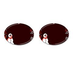 Snowman Holidays, Occasions, Christmas Cufflinks (Oval) by Nexatart